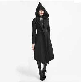 Punk Rave Women's Long Woolen Hooded Anorak Coat Outcast Coat Y611