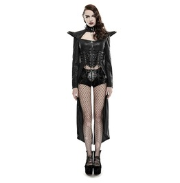 Punk Rave Women's Sexy Lace Up Long Rider Faux Leather Coat Y670