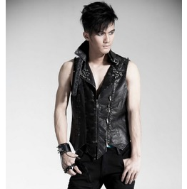 Punk Rave Men's Skull Spikes Faux Leather Vest Y365 M