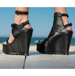 Black Genuine Leather Platform Sandals/Genuine Leather Platform Sandals