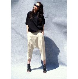 Linen Loose Drop Crotch Pants/Harem Pants/Linen Yoga Pants/Beige Drop Crotc