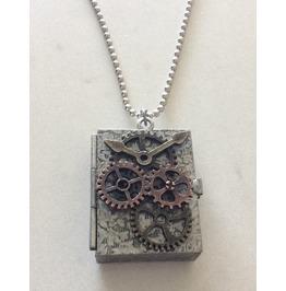 Steampunk Locket Pendant Necklace Stash Necklace