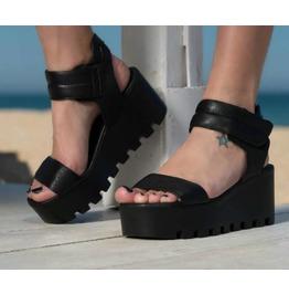 Black Genuine Leather Platform Sandals/Black Wedge Sandals/Wedge Sandals