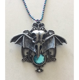 Steampunk Gothic Winged Bird Skull Pendant Necklace