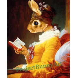 Bunny Book Reader Mixed Media