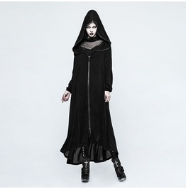 Punk Rave Women's Gothic Cross Hooded Long Jacket Y770