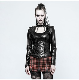 Punk Rave Women's Stand Collar Military Uniform Faux Leather Jacket Y785