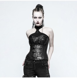 Punk Rave Women's Sexy Lace Up Faux Leather Overbust Corsets Y773