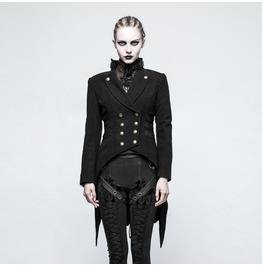 Women's Steampunk Lapel Double Breasted Swallow Tail Worsted Jacket Y771