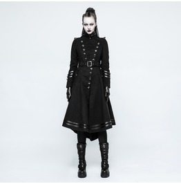 Punk Rave Women's Military Uniform Worsted Long Coat With Belt Y766