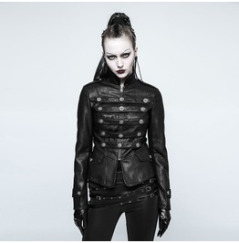 Punk Rave Women's Military Uniform Faux Leather Jacket Y768