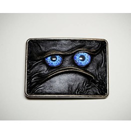 Antique Silver Black Genuine Leather Belt Buckle With Ugly Leather Face.