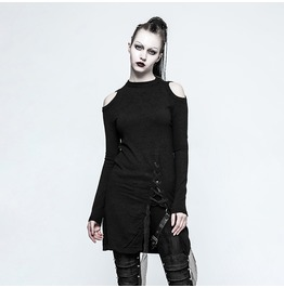 Punk Rave Women's Gothic Off The Shoulder Slit Lace Up Sweater Opm042