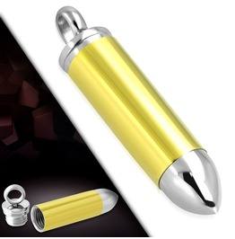 Stainless Steel 2 Tone Openable Memorial Ashes Urn Case Bullet Pendant