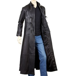 Mens Goth Leather Coat Gothic Full Length Coat With Three Buckle Open Front