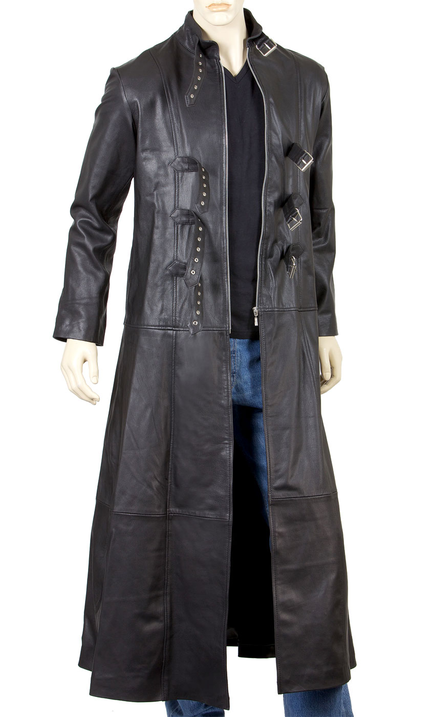 Mens Goth Leather Coat Gothic Full Length Coat With Three Buckle Open