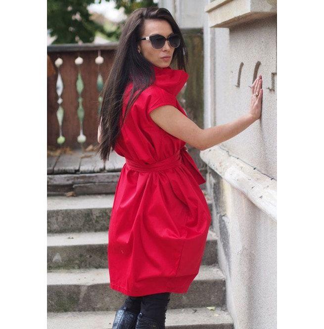 Red Maxi Tunic/Red Maxi Dress/Women Maxi Dress Whit Belt/Plus Size Dress
