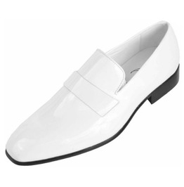 Handmade Men White Patent Leather Shoes Moccasins Slip Ons, Men Party Shoes