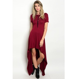 Burgundy Hi Low Dress
