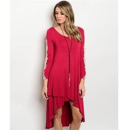 Burgundy Lace Sleeves Hi Low Dress