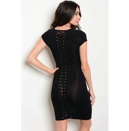 Black Corset Lace Up Dress