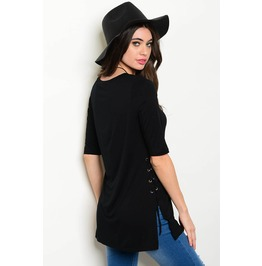 Black Lace Up Tunic Top