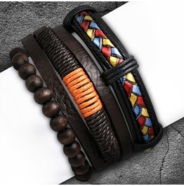 3 Bracelet Set Wood Stretch Beads Braided Wrap Rope Adjustable Leather Boho
