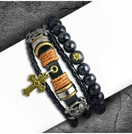 2 Bracelet Set Fashion Wood Stretch Beads Cross Charm Wrap Rope Adjustable