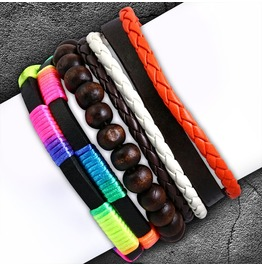 3 Bracelet Set Wood Stretch Beads Braided Multi Color Wrap Rope Adjustable