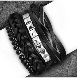 4 Bracelet Set Wood Stretch Beads Braided Wrap Rope Adjustable Leather Boho