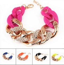 Beautiful Urban Fashion Punk Gold Chunky Plastic Curb Chain Link Bracelets