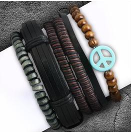 4 Bracelet Set Fashion Wood Stretch Beads Wrap Rope Peace Sign Adjustable