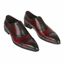 Handmade Men Red Wine Brogue Oxford Formal Dress Shoes, Men Leather Shoes