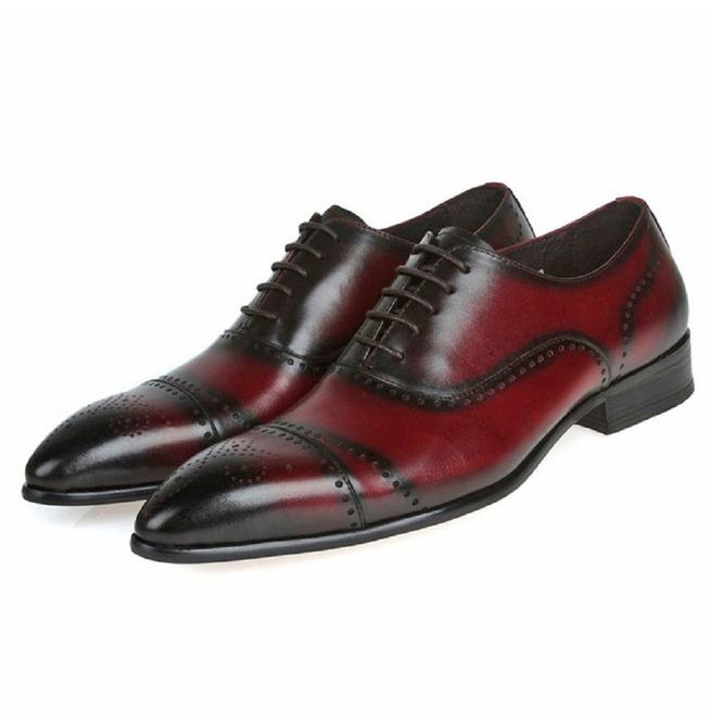 Handmade Men Red Wine Brogue Oxford Formal Dress Shoes Rebelsmarket
