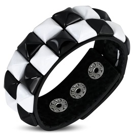 Genuine Leather Black And White Square Pyramid Stud Snap Bracelet
