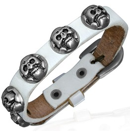 Genuine White Leather Circle Skull Stud Belt Buckle Biker Bracelet