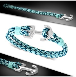 Alloy And Blue Woven Braided Pu Leather Marine Anchor Toggle Bracelet