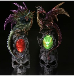 Skull & Dragon Figurine W/ Led Light
