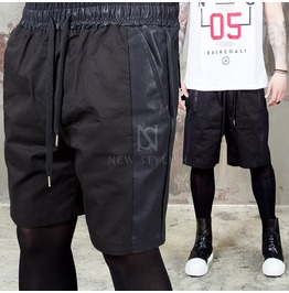 Leather Stripe Contrast Black Banding Sweat Shorts 83