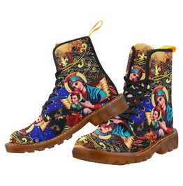Funky Vintage Virgin Mary & Jesus Dr Martens Style Canvas Combat Boots
