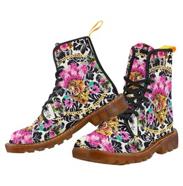 Funky Frou Frou Tiger Dr Marten Style Canvas Combat Boots