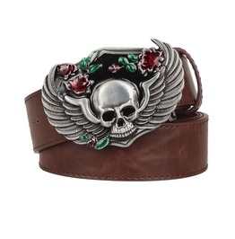Skull Wings Roses Punk Rock Metal Buckle Pu Leather Belt For Men