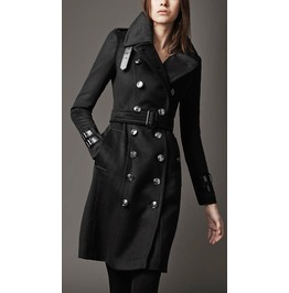 Women's Black Woolen Long Trench Coat