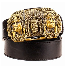 Punk Rock Pu Leather Indian Tribal Chief Kerosene Lighter Belt Men