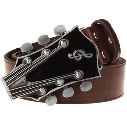 Retro Guitar Metal Buckle Pu Leather Belt Men