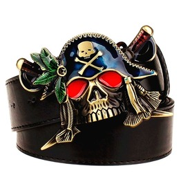 Colored Pirate Skull Sword Knife Punk Rock Pu Leather Belt Men