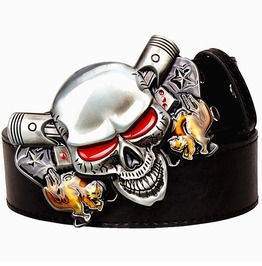 Punk Rock Demon Skull Clown Joker Pu Leather Belt Men