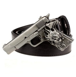 Punk Rock Demon Pistol Gun Metal Buckle Pu Leather Belt Men
