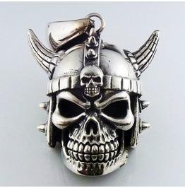 New Heavy 925 Sterling Silver Skull Viking Horn Helmet Worrier Pendant