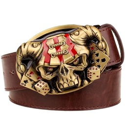 Punk Rock Skull Demon Jester Clown Joker Metal Buckle Pu Leather Belt Men